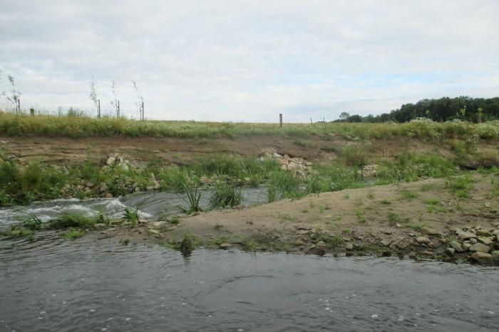Uferabbrüche Nebengerinne Juli 2021: Sicherung des Status Quo durch weiteren Verbau.