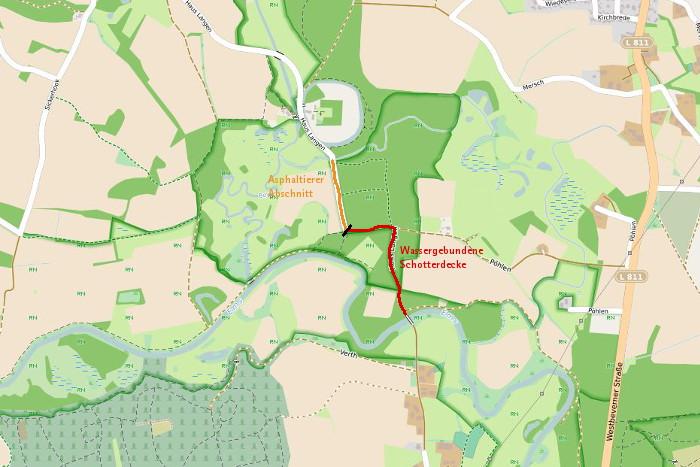 Der geplante Wegeausbau am Haus Lange bei Telgte in der Emsaue.